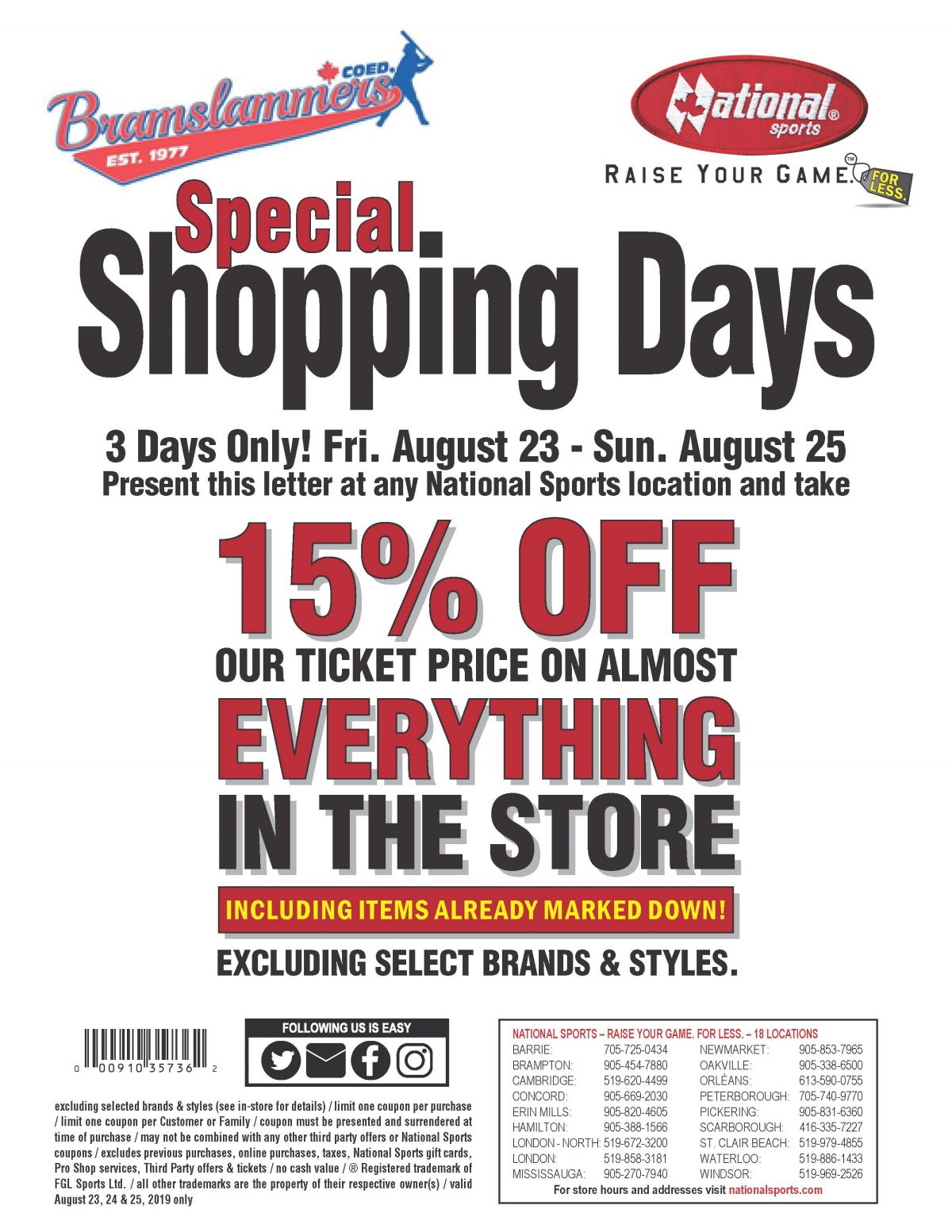 National Sports Shopping Day August 23 – 25th 2019